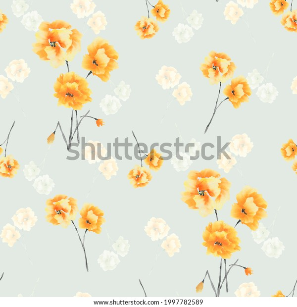 Seamless pattern of yellow flowers and bouquets on a light green background. Watercolor