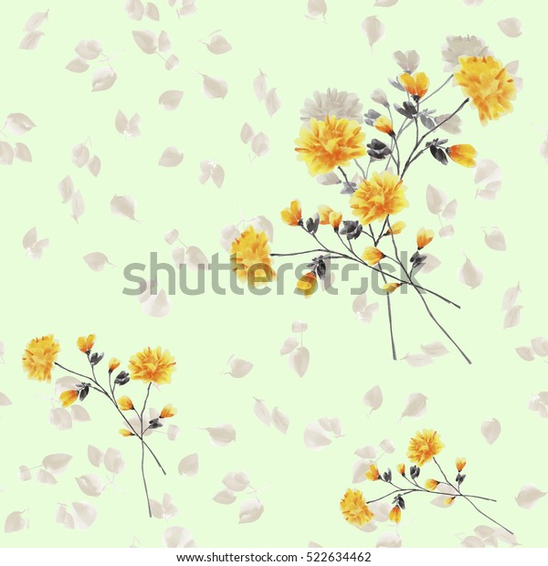 Seamless pattern of yellow flowers and branches on a light green background. Watercolor