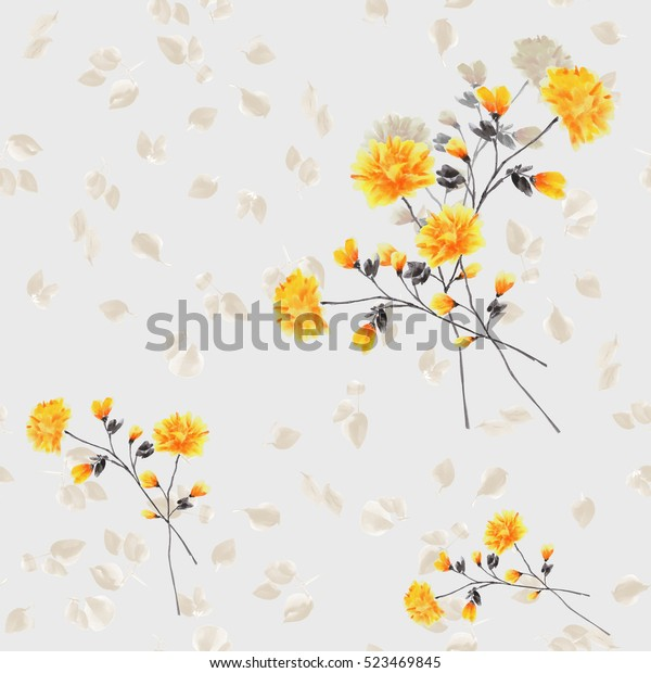 Seamless pattern of yellow flowers and branches on a light blue background. Watercolor