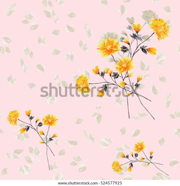 Seamless pattern of yellow flowers and branches on a light pink background. Watercolor