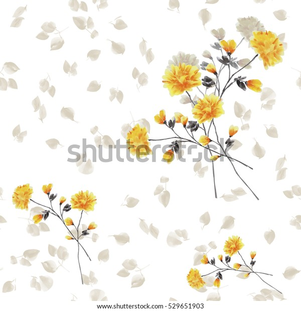 Seamless pattern of yellow flowers and branches on a white background. Watercolor