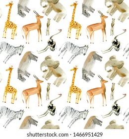 Seamless pattern of a yellow giraffe, zebra, elephant,gazelle,ostrich,hippopotamus,meerkat .Watercolor hand drawn illustration.White background.African animals.