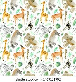 Seamless pattern of a yellow giraffe, zebra, elephant,gazelle,ostrich,hippopotamus,meerkat and foliage.Watercolor hand drawn illustration.White background.African animals.