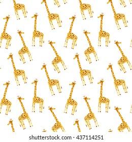 Seamless pattern with yellow giraffe.Watercolor hand drawn illustration.White background.Animals image.