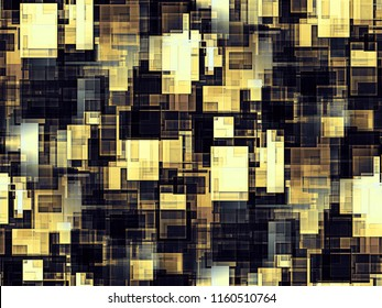 Seamless pattern of yellow and gray design squares. 3d illustration