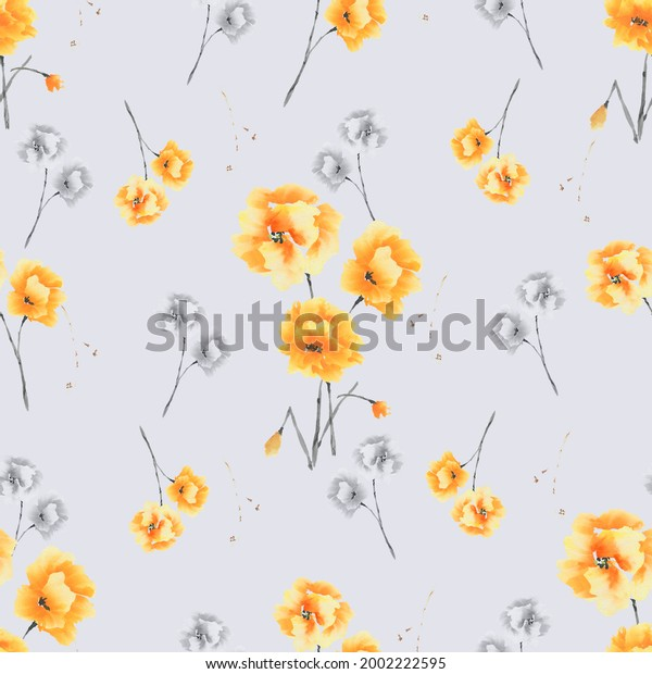 Seamless pattern of yellow and gray flowers and bouquets on a gray background. Watercolor