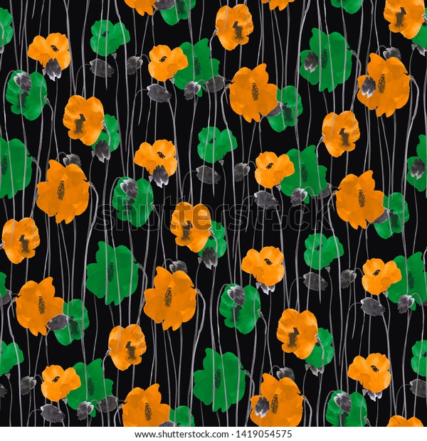 Seamless pattern of yellow and green flowers on the black background. Watercolor