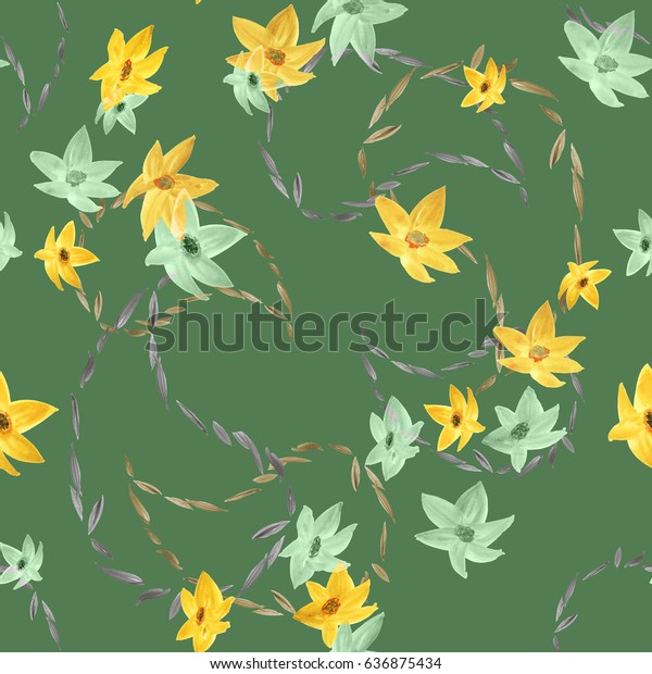 Seamless pattern of yellow and green flowers and paisley on a deep green background. Watercolor
