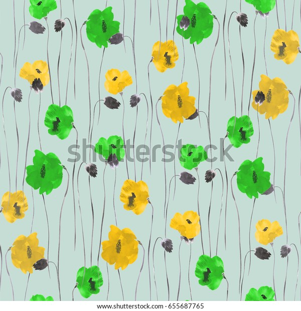 Seamless pattern of yellow and green flowers on a turquoise background. Watercolor