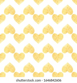 Seamless pattern with yellow hand drawn watercolor heart. Hand painted pattern. Romantic ornament for valentines day. Isolated on white background.