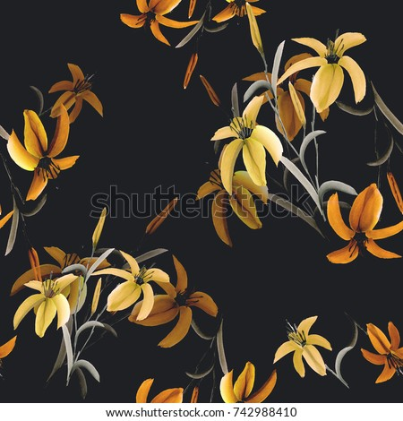 Seamless pattern of yellow and orange flowers of lily on the black background. Watercolor