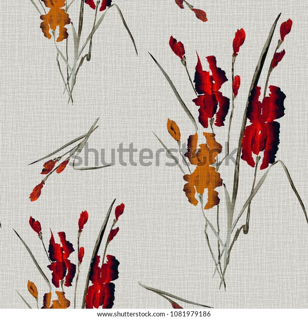 Seamless pattern of yellow and red flowers of iris on a beige linen background. Watercolor