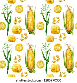 seamless pattern.Corn, painted in watercolor. hand drawn watercolor illustration of vegetable. food. corn cob in the cut. corn grill. corn grain