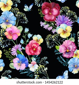 Seamless pattern,pansies ,watercolor. Design for printing on fabric,Wallpaper