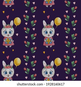 Seamless patterns with cute animals. Bunny girl in a pink dress with flowers, a gift and a balloon on a blue background with flowers and leaves. Watercolor. For decor, textiles, wallpaper, packaging