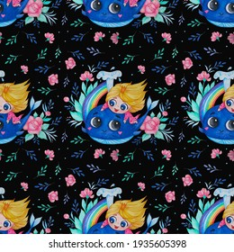 Seamless patterns. Cute little princess girl and a blue whale with a rainbow on a black background with a floral pattern. Watercolor. Hand drawing for design, decor, textiles, kids collection