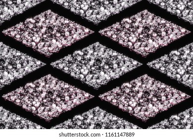 Seamless patterns of diamonds in white and pink colors. 3d illustration