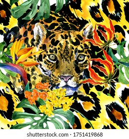 seamless patterns with leopard in exotic jungle forest. Watercolor panther illustration. Tropical botanical island. jaguar.