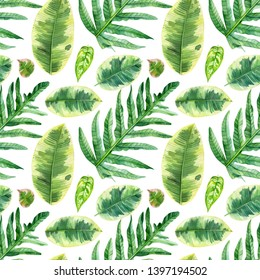 seamless patterns of tropical leaves, watercolor illustration, botanical painting, jungle design