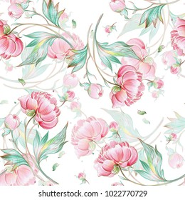Seamless peony pattern with buds, pattern for fabric and wallpaper, for design and decoration.
