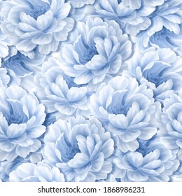 Seamless peony wallpaper pattern. Blue monochrome floral background