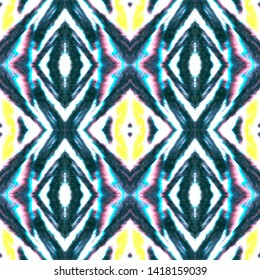 Seamless Peruvian Pattern. Geometric Aztec Decoration. Yellow, Blue and Black Ethnic Print. Bohemian Aquarelle Kaftan Design. Watercolor Peruvian or Mexican Pattern.