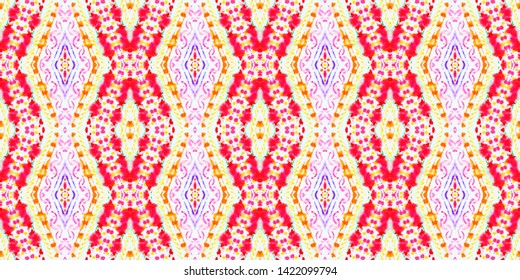 Seamless Peruvian Pattern. Geometric Peruvian Background. Ethnic Texture. Aquarelle Tie Dye Painted Texture. Watercolor Peruvian or Mexican Pattern.