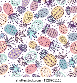 Seamless pineapple pattern. Handdrawn Pinapple with different textures in pastel colors. Exotic fruits background For Fashion print, textile, fabric, covers, wallpapers, wrap.