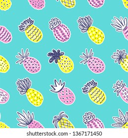 Seamless pineapple pattern. Handdrawn Pinapple with different textures in pastel colors on blue teal background. Exotic fruits background For Fashion print textile fabric covers wallpapers wrap