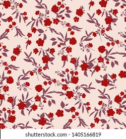 seamless, pink background, red isolated tiny flowers and leaf all over pattern print.