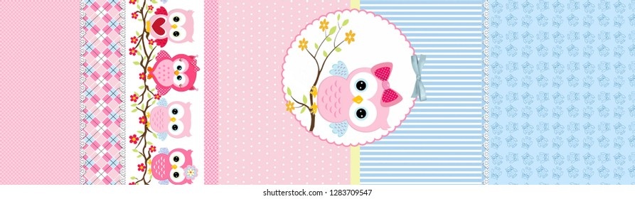 seamless pink and blue children's bed linen pattern with owl figures in circle and different shapes on blue background