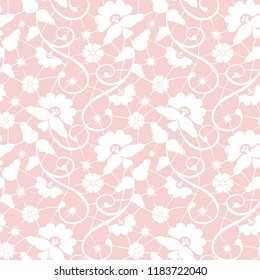 Seamless pink lace background with floral pattern