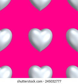 Seamless pink pattern with hearts for Valentine's Day.