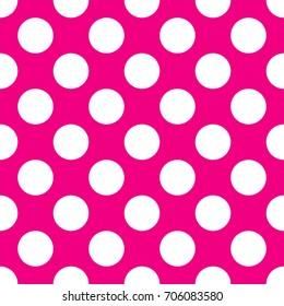 A seamless pink polka dot background paper pattern.