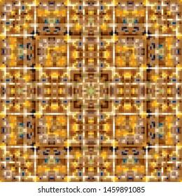 Seamless pixel kaleidoscope mosaic pattern background