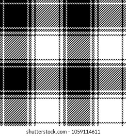 Seamless plaid check pattern in black and white. Classic fabric texture for digital textile printing.