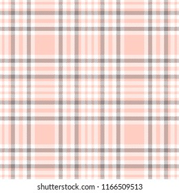 Seamless plaid pattern in pink, gray and white. All over digital fabric texture