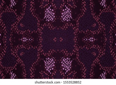 Seamless Predator Pattern. Anaconda Leather Wild Print. Trendy Jungle Wallpaper. Pink and Black Colors. Handmade Distressed Cloth. Watercolor Predator Pattern.