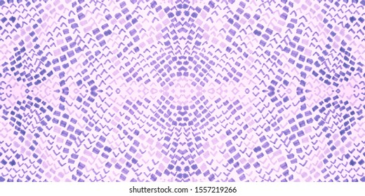 Seamless Predator Pattern. Cobra or Phyton Wild Print. Fashion Exotic Wallpaper. Purple and Pink Rapport. Grunge Distress Cloth. Watercolor Predator Pattern.