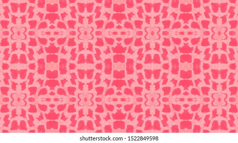 Seamless Predator Pattern. Red, Living Coral Color. Python Leather Wild Print. Jungle Exotic Illustration. Rough Aged Swimwear. Watercolor Predator Pattern.