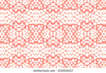 Seamless Predator Pattern. Red, Living Coral Color. Jungle Wild Wallpaper. Python or Cobra Wild Print. Aquarelle Painted Fabric. Watercolor Predator Pattern.