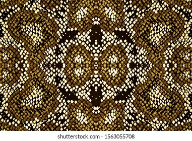 Seamless Predator Pattern. Yellow, Brown and Gold. Wild Zoo Illustration. Python or Cobra Wild Surface. Aquarelle Artistic Cloth. Watercolor Predator Pattern.