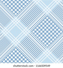 Seamless Prince of Wales check patten in light blue and white. All over digital fabric texture