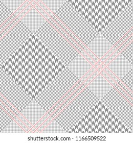 Seamless Prince of Wales check pattern in gray and red. All over digital fabric texture