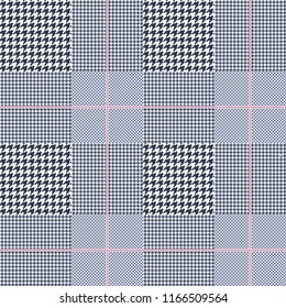 Seamless Prince of Wales check pattern in navy blue, white and pale amaranth. All over digital fabric texture