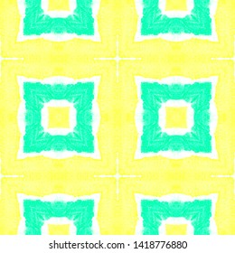Seamless Printed Flannel Checks. Ethnic Ornament with Green and Yellow Quadrangles. Drawn by Hand Illustration. Vintage Shibori Texture Design. Watercolor Seamless Flannel Checks Pattern.