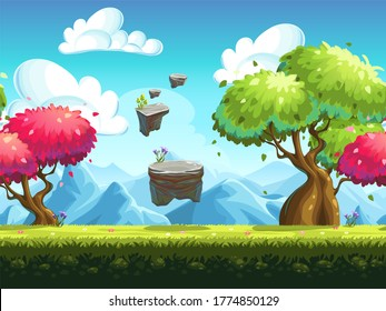 Seamless raster background colorful trees in the forest against the backdrop of the mountains