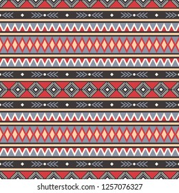 Seamless raster decorative ethnic pattern with geometric ornaments. Background for printing on paper, wallpaper, covers, textiles, fabrics, for decoration, decoupage, scrapbooking and other