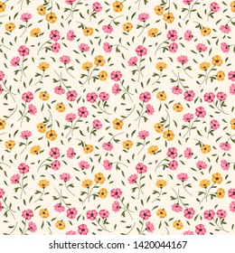 Seamless raster ornamental floral pattern. Background for printing on paper, wallpaper, covers, textiles, fabrics, for decoration, decoupage, scrapbooking and other
