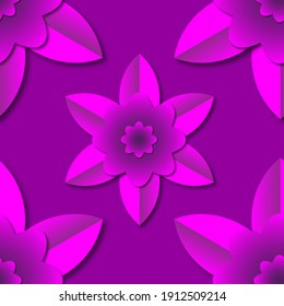Seamless raster pattern in cut paper style. Pink flowers on a lilac background. 3D image.